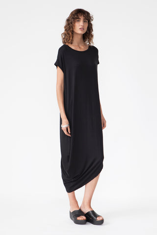 BAMBOO ASYMMETRIC DRESS - BLACK