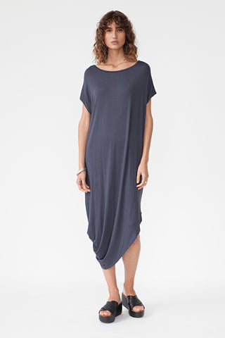 BAMBOO ASYMMETRIC DRESS - CHARCOAL
