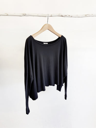 ORGANIC COTTON OVERSIZED TOP - BLACK - Tluxe