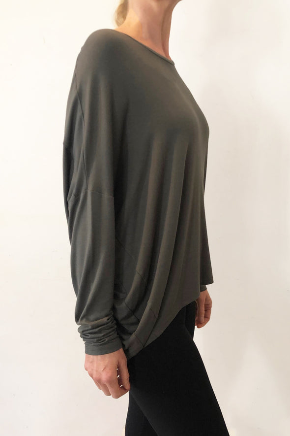 BAMBOO COCOON LONG SLEEVE TOP - OLIVE - Tluxe