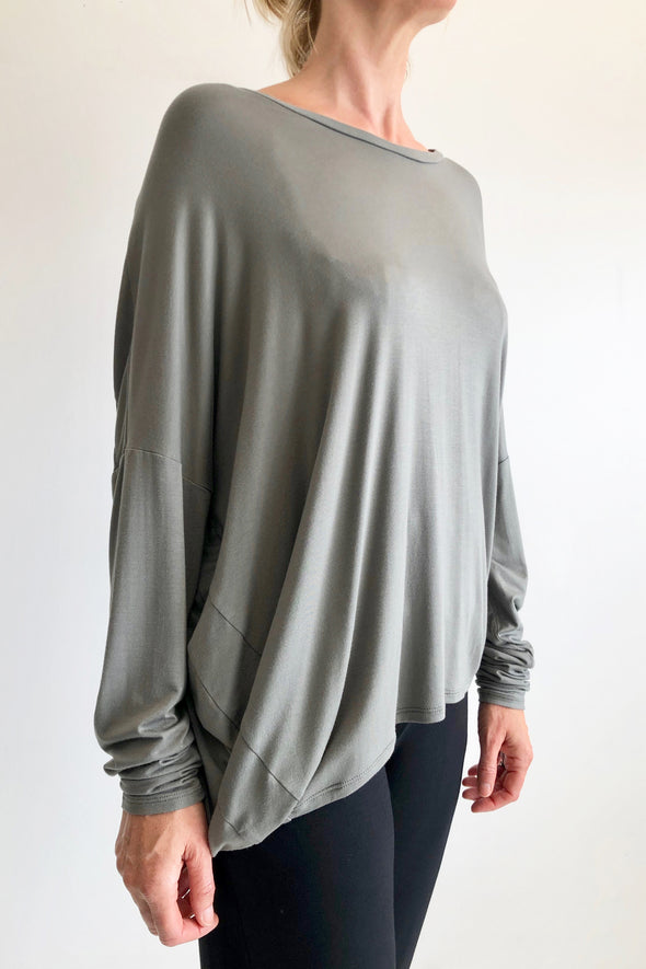 BAMBOO COCOON LONG SLEEVE TOP - FERN - Tluxe