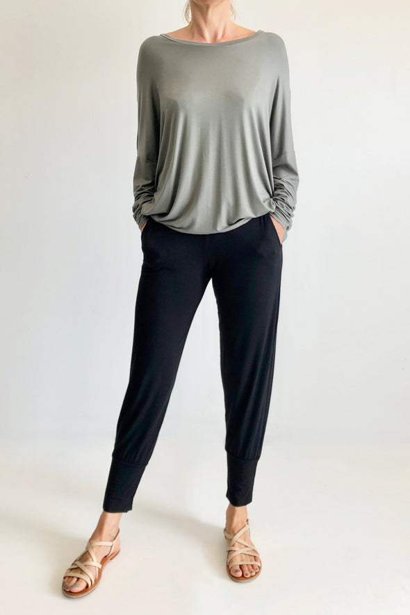 BAMBOO LOUNGE PANT - BLACK - Tluxe