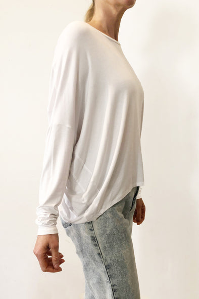 BAMBOO COCOON LONG SLEEVE TOP - WHITE - Tluxe