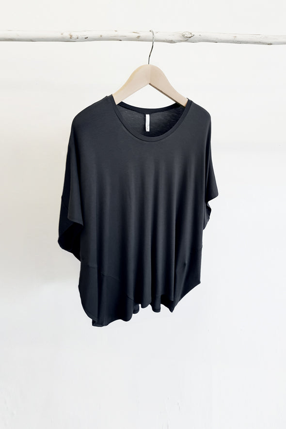 BAMBOO COCOON TOP - BLACK - Tluxe