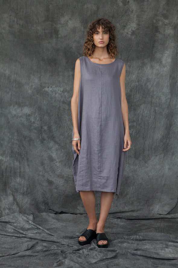 LINEN BUBBLE DRESS - SLATE - Tluxe