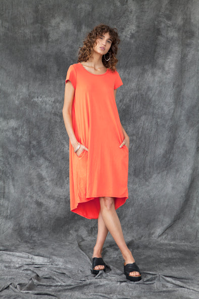 ORGANIC COTTON CAPE BACK DRESS - MANDARIN - Tluxe