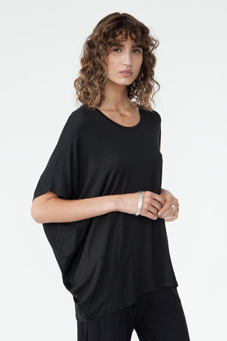 BAMBOO COCOON TOP - BLACK