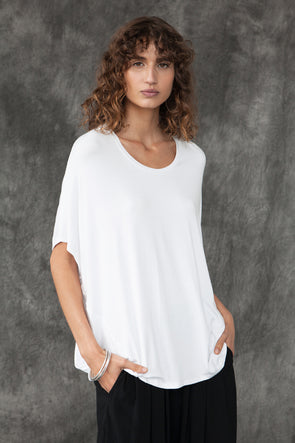 BAMBOO COCOON TOP - WHITE - Tluxe
