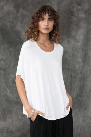 BAMBOO COCOON TOP - WHITE