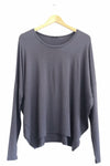 BAMBOO COCOON LONG SLEEVE TOP - CHARCOAL - Tluxe