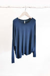 BAMBOO COCOON LONG SLEEVE TOP - DENIM - Tluxe
