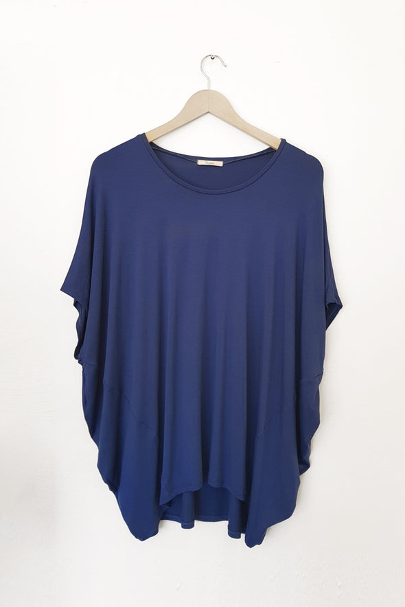 BAMBOO COCOON TOP - DENIM - Tluxe