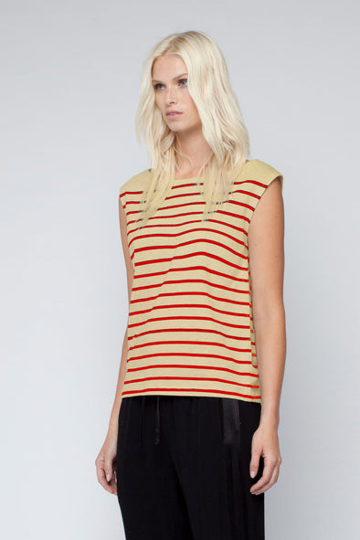 COTTON JERSEY STRIPE TANK - CARAMEL/RED - Tluxe