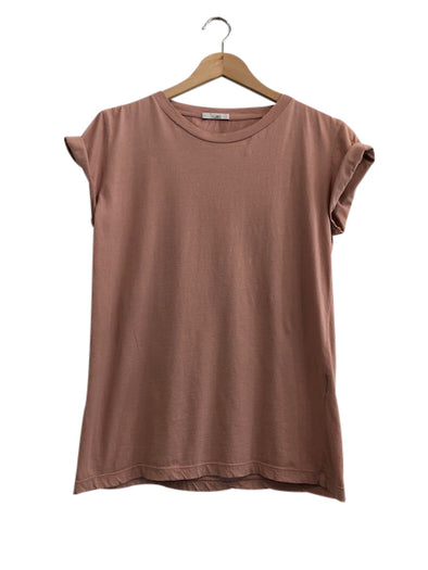 ORGANIC COTTON BOYFRIEND TEE - TEA ROSE - Tluxe