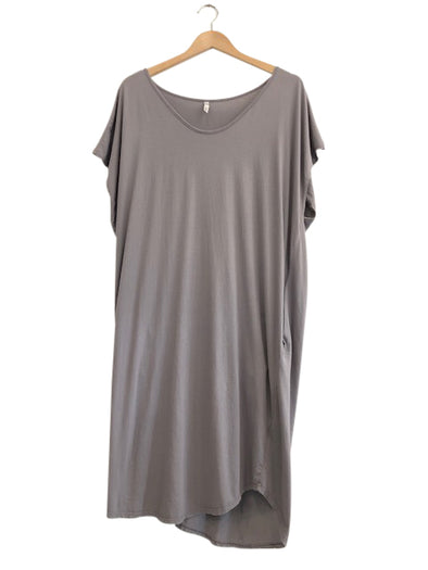 ORGANIC COTTON COCOON DRESS - STEEL - Tluxe