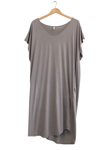 ORGANIC COTTON COCOON DRESS - STEEL