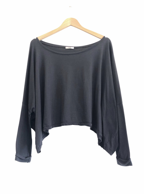 ORGANIC COTTON OVERSIZE TOP - GUNMETAL - Tluxe