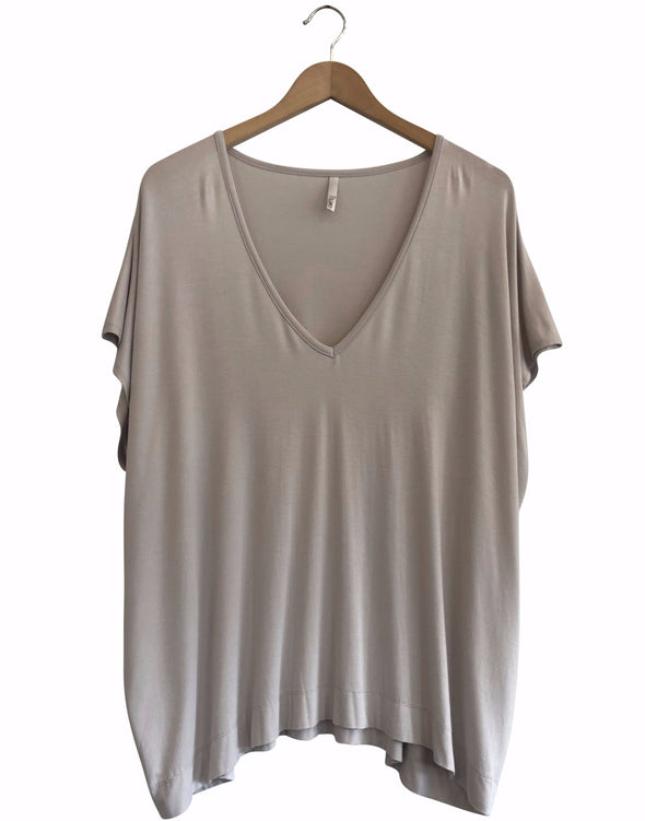 BAMBOO PONCHO TOP - OYSTER - Tluxe