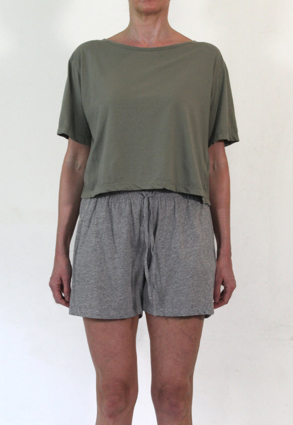 ORGANIC COTTON JERSEY SHORT - GREY MARLE - Tluxe