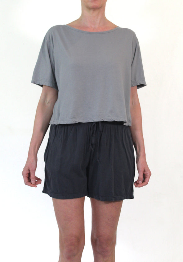 ORGANIC COTTON JERSEY SHORT - PEWTER - Tluxe