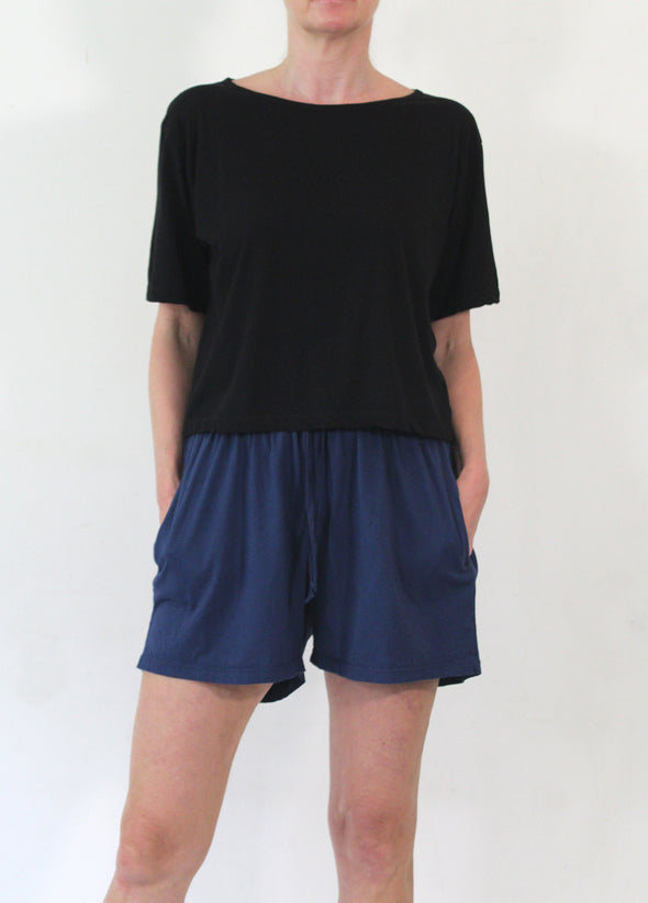 ORGANIC COTTON JERSEY SHORT - DENIM - Tluxe