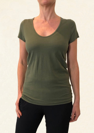 ORGANIC COTTON PERFECT TEE - KHAKI - Tluxe