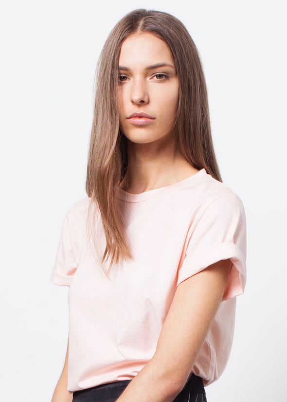 ORGANIC COTTON BOYFRIEND TEE - PALE BLUSH - Tluxe