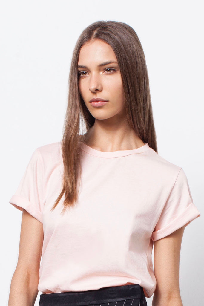 ORGANIC COTTON BOYFRIEND TEE - PALE BLUSH