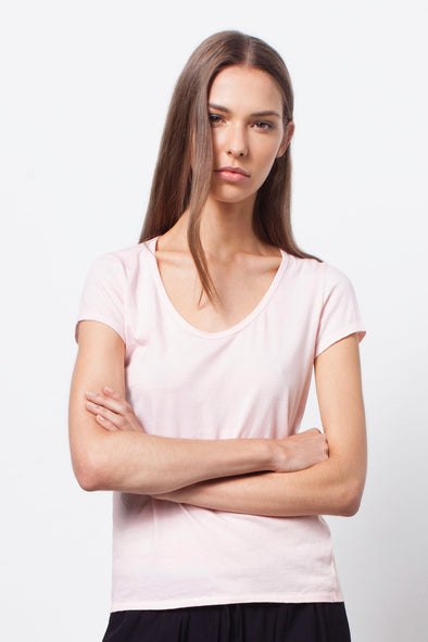 ORGANIC COTTON PERFECT TEE - PALE BLUSH - Tluxe
