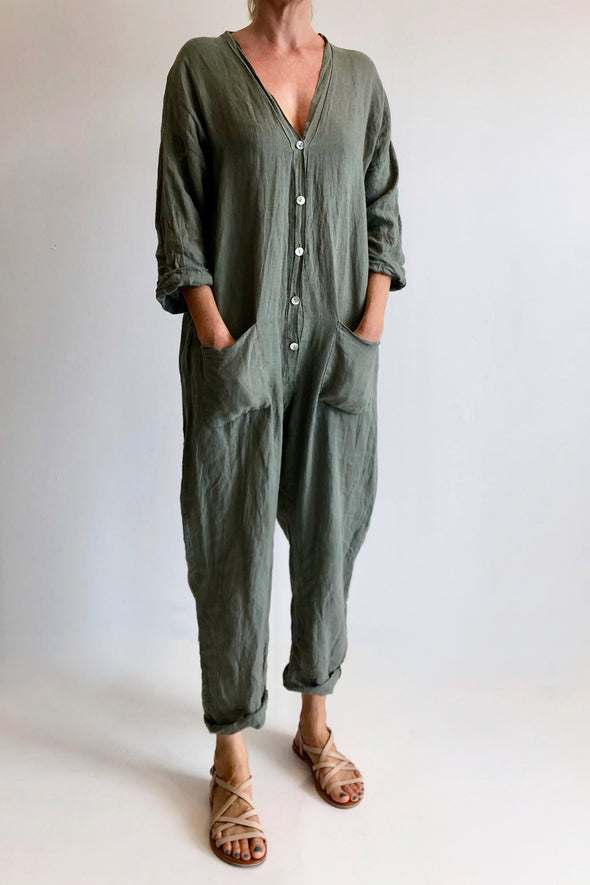 LINEN UTILITY SUIT - GREEN OLIVE - Tluxe