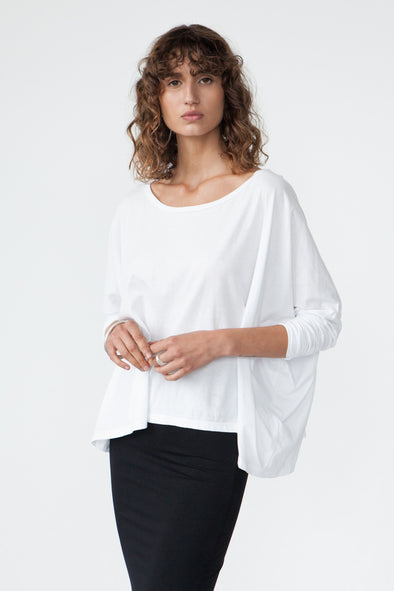 ORGANIC COTTON OVERSIZED TOP - WHITE - Tluxe