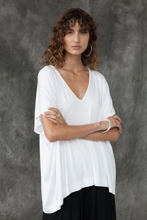 BAMBOO PONCHO TOP - WHITE - Tluxe