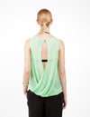 SILK GEORGETTE OPEN BACK TOP - MINT - Tluxe
