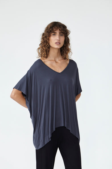 BAMBOO PONCHO TOP - CHARCOAL - Tluxe