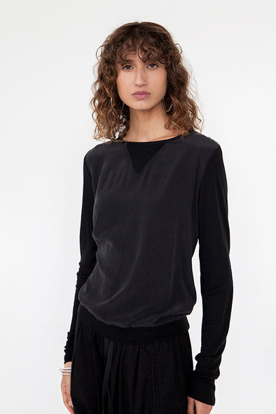 SILK & MERINO WOOL JUMPER - BLACK - Tluxe