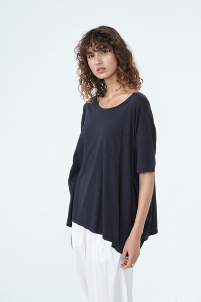 ORGANIC COTTON BOX TOP - GUNMETAL - Tluxe