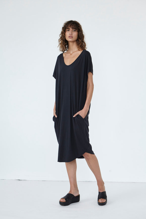 ORGANIC COTTON COCOON DRESS - GUNMETAL - Tluxe
