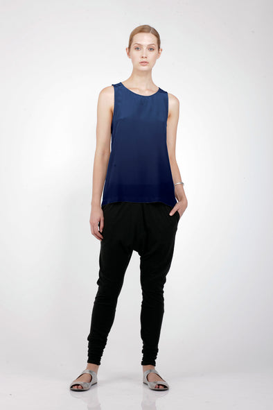 SILK TRAPEZE TOP- MIDNIGHT - Tluxe