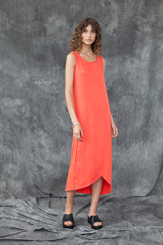 SILK & ORGANIC COTTON SPLICE DRESS - MANDARIN - Tluxe