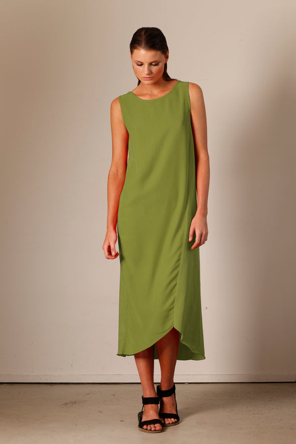 SILK & ORGANIC COTTON SPLICE DRESS - CHARTREUSE - Tluxe