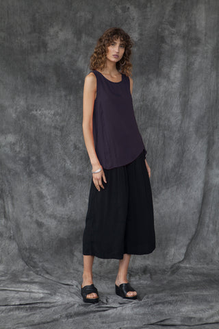SILK & ORGANIC COTTON SPLICE TANK - AUBERGINE