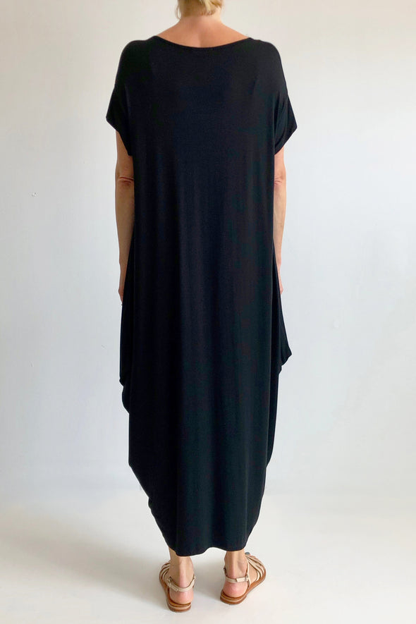 BAMBOO DIAMOND DRESS - BLACK - Tluxe
