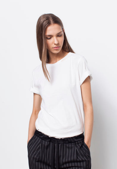 ORGANIC COTTON BOYFRIEND TEE - WHITE - Tluxe