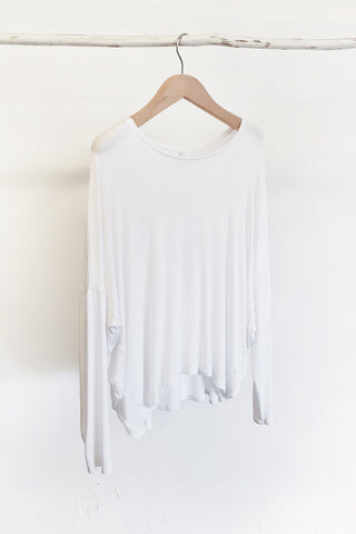BAMBOO COCOON LONG SLEEVE TOP - WHITE