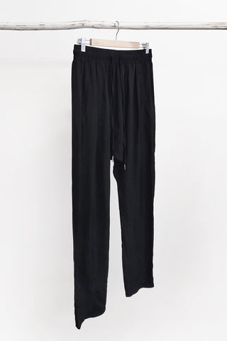 CUPRO WOVEN SLOUCH PANTS - BLACK