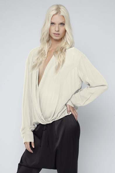 WILLOW WRAP SHIRT - CREAM - Tluxe