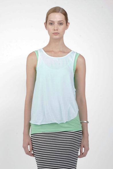 ORGANIC COTTON CUT AWAY TANK - AQUA - Tluxe