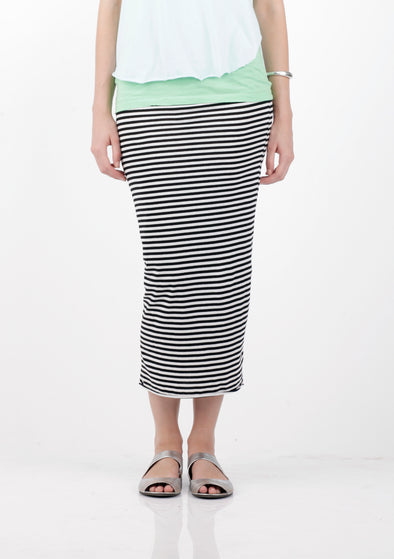 COTTON JERSEY STRIPE TUBE SKIRT - Tluxe