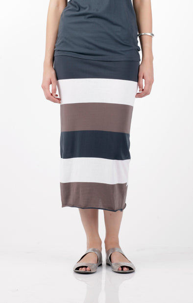 COTTON JERSEY STRIPE SKIRT - LATTE/ CHARCOAL - Tluxe