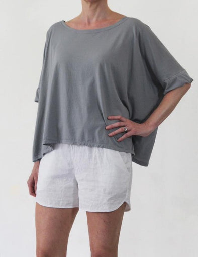 ORGANIC COTTON FOLDED SLEEVE OVERSIZE TOP - CLAY - Tluxe